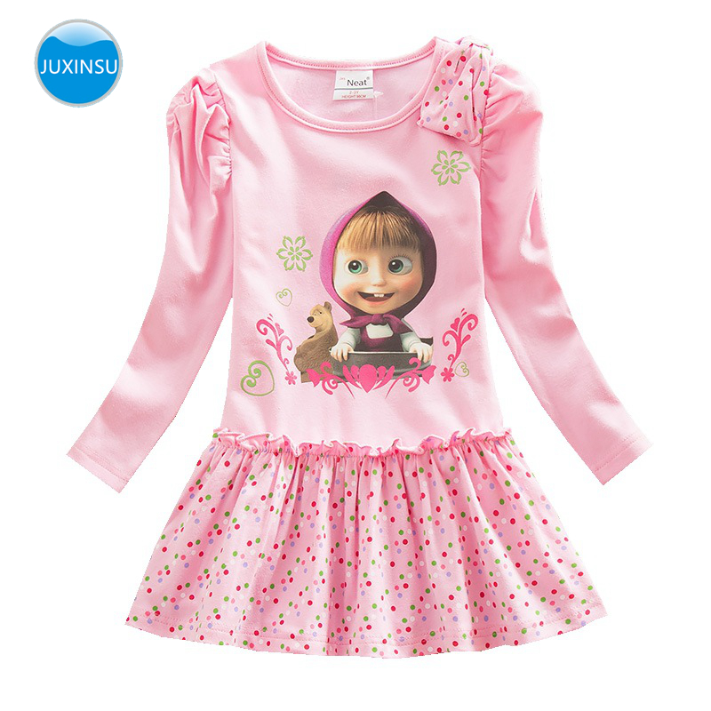JUXINSU Girls Masha & The Bear Cartoon Cotton Long Sleeve Lovely Dresses Wavelet Point Dress Autumn Winter For Baby Girl 1-7 Y