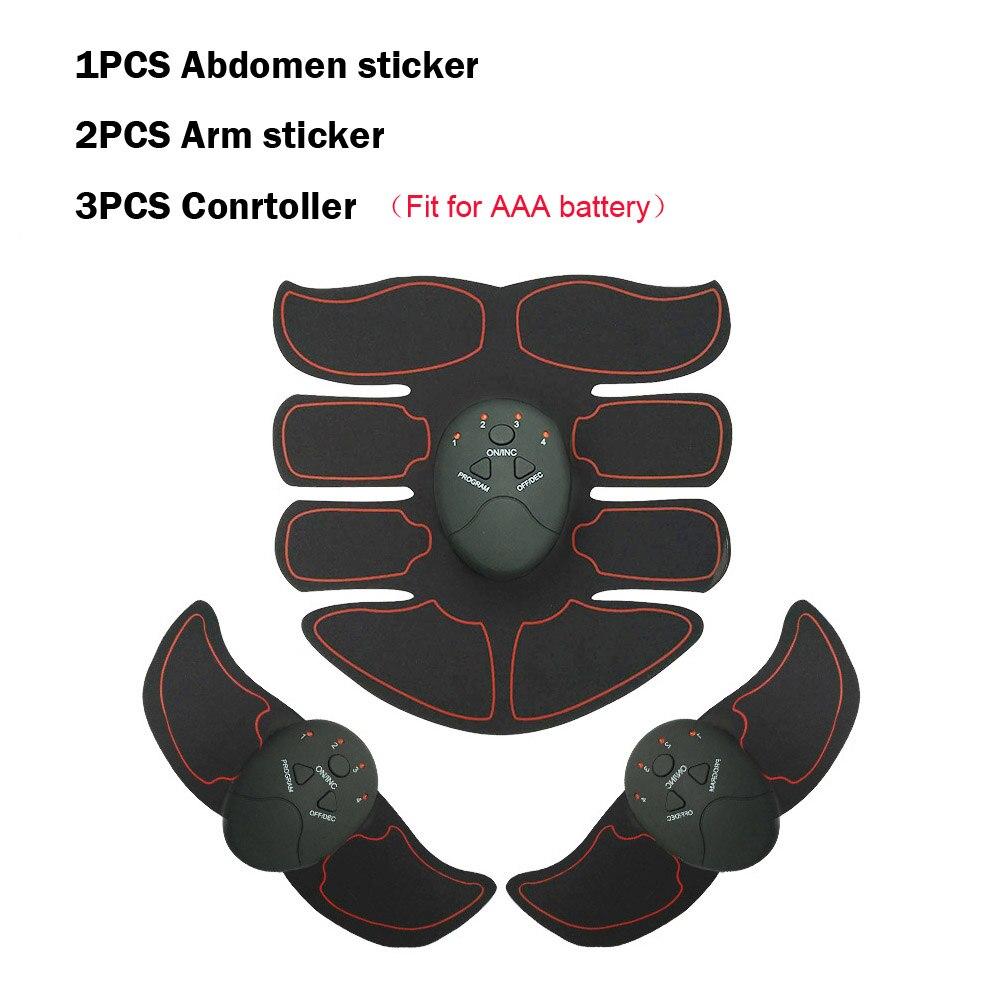 Умный EMS стимулятор мышц ABS брюшной мышцы тонер тела фитнес формирующий массаж патч стройнящий тренажер унисекс - Цвет: Black Full set