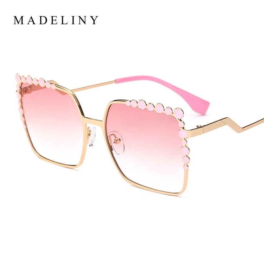 MADELINY 2017 Brand Designer Women Sunglasses New Fashion Square Alloy Frame Sun Glasses Classic Coating Mirror Eyewear MA093