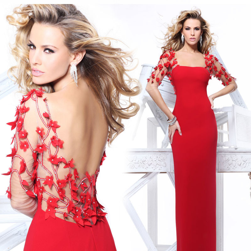 free shipping party evening gown robe de soiree 2015 new hot sexy tulle backless red long vestidos de festa   prom     Dresses