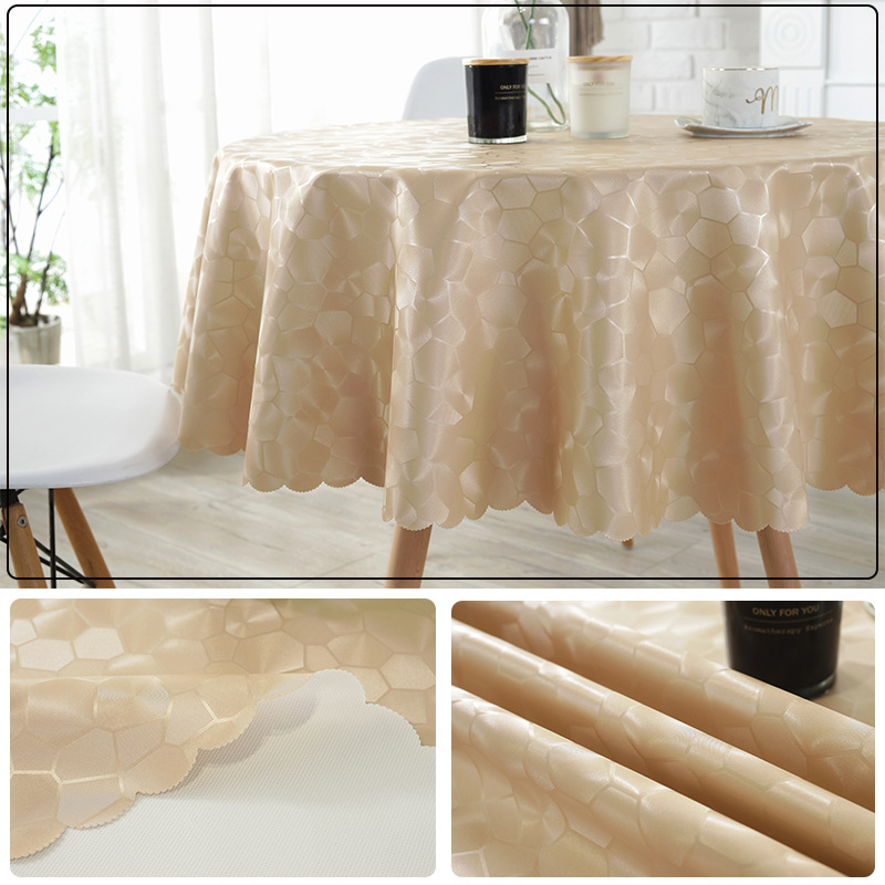 Europe Luxury PU leather Hotel large round table cloth Waterproof oilproof table cover party wedding table decoration mat pad in Tablecloths from Home Garden