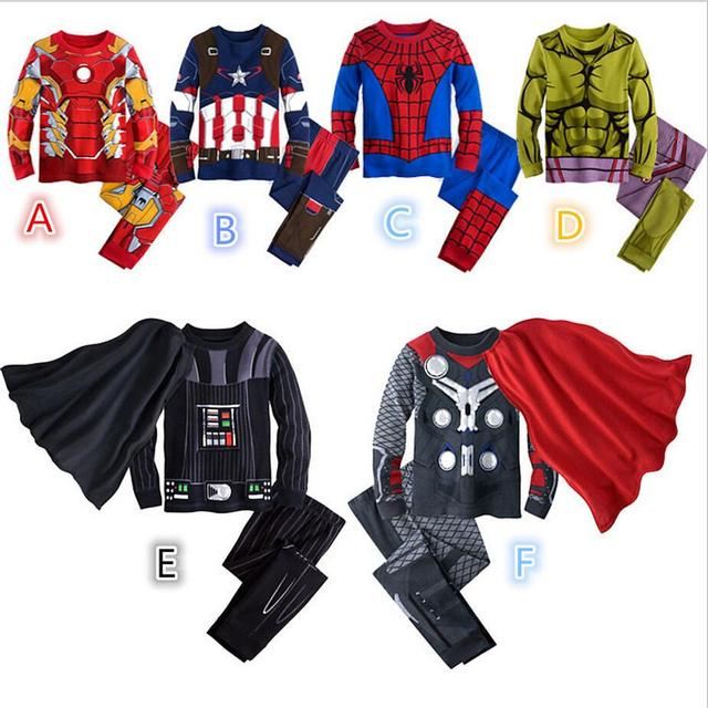 Personalidade novidade crianças 2 pçs/set meninos do Homem-Aranha Homem de ferro Capitão América Hulk longo-sleeved terno roupas Coloridas variedade