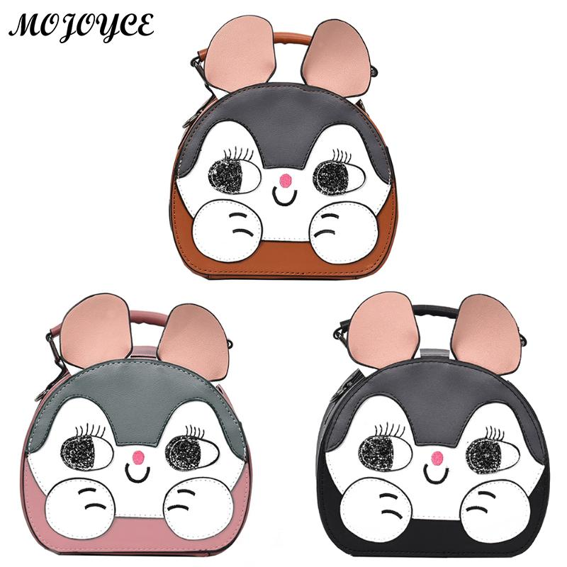 Kawaii PU Messenger Bag Womens Strap Shoulder Bags Mini Children Girls Cute Cartoon Print Cat Dog Round Crossbody Handbag