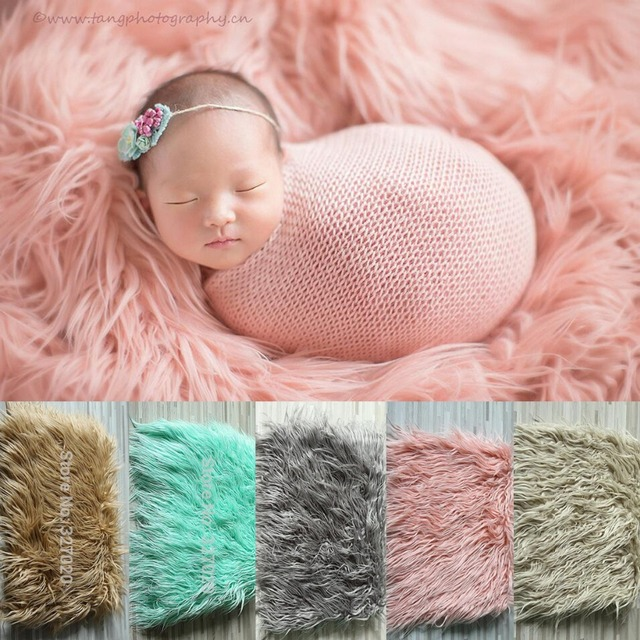 75100cm newborn photography props baby blanket backdrops for photography faux fur basket filler stuffer