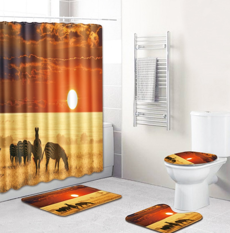African Style Landscape Polyester Shower Curtain Set Non