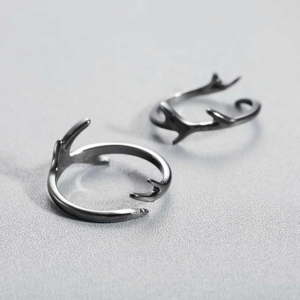 Cxwind แฟชั่นสีดำน่ารักสาขาแหวนปรับขนาดกวาง Anlter แหวนของขวัญที่ยอดเยี่ยมสำหรับหญิงวัยรุ่น Lady เครื่องประดับนิ้วมือ