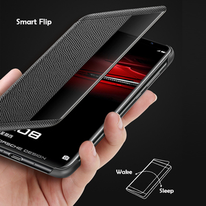 Image 3 - For Huawei Mate RS Case Luxury Genuine Leather View Display Window Smart Flip Case For Huawei Mate RS Porsche Design Cover Coque