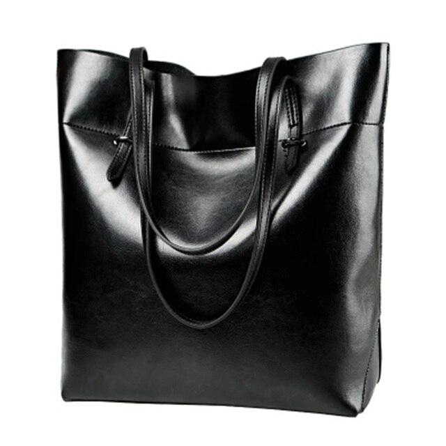 Fashion Women Brand Shoulder Bags High Quality Cowhide PU Leather Oil Waxing Women's Casual Tote Bag Zipper Handbag Bolsos Mujer