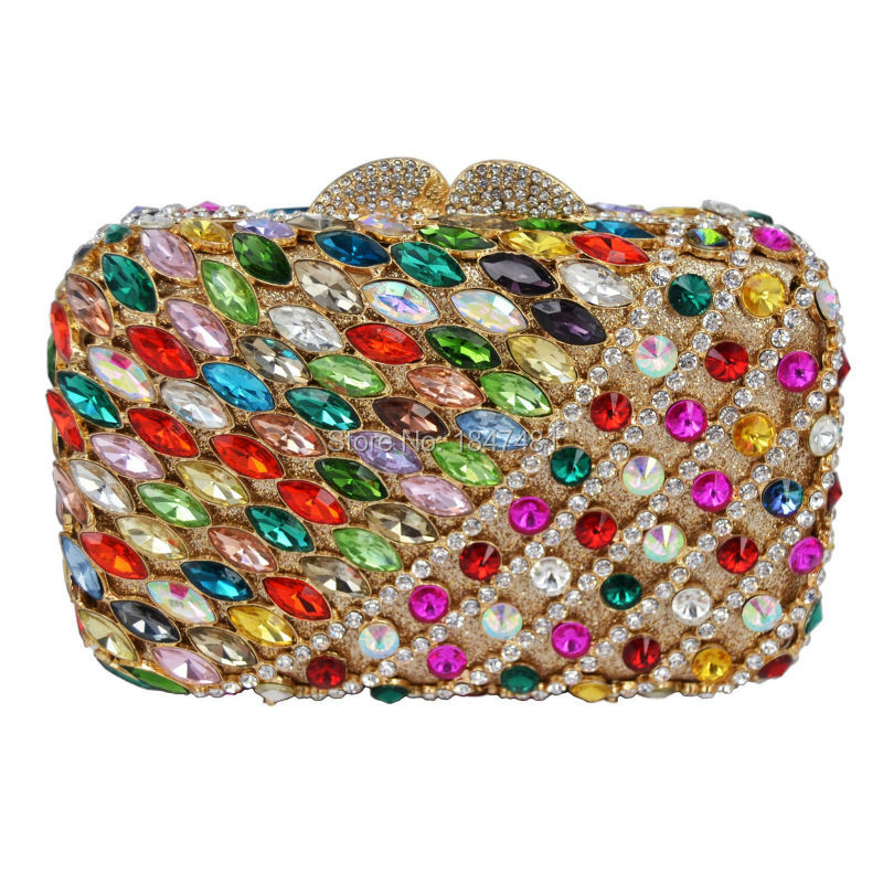 ФОТО Factory Sale Luxury Crystal Diamond Clutches Multicolor Women Evening Bag Fuschia Rhinestone Wedding Banquet Clutch Bag SC497