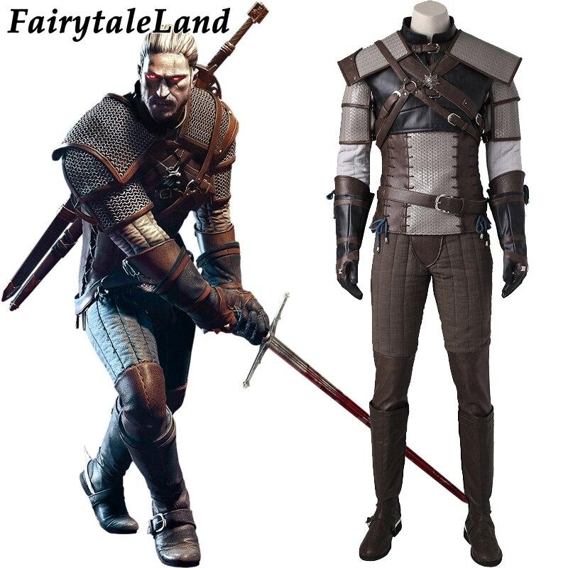 De Witcher 3 Wilde Hunt Cosplay Kostuum Game Carnaval Halloween Kostuum Volwassen Geralt Van Rivia Cosplay Kostuum Custom Made Pak Aantrekkelijk Uiterlijk
