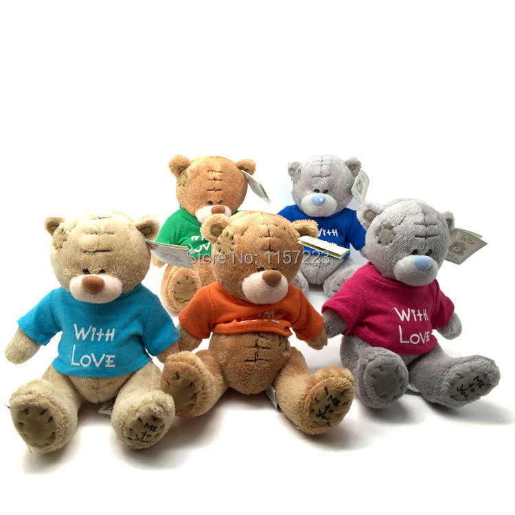 New Arrived 1pcs Plush  Teddy Bears With Colorful T-Shirt Cute Plush toys Wedding Bear Doll Valentines Christmas Gift  цена и фото