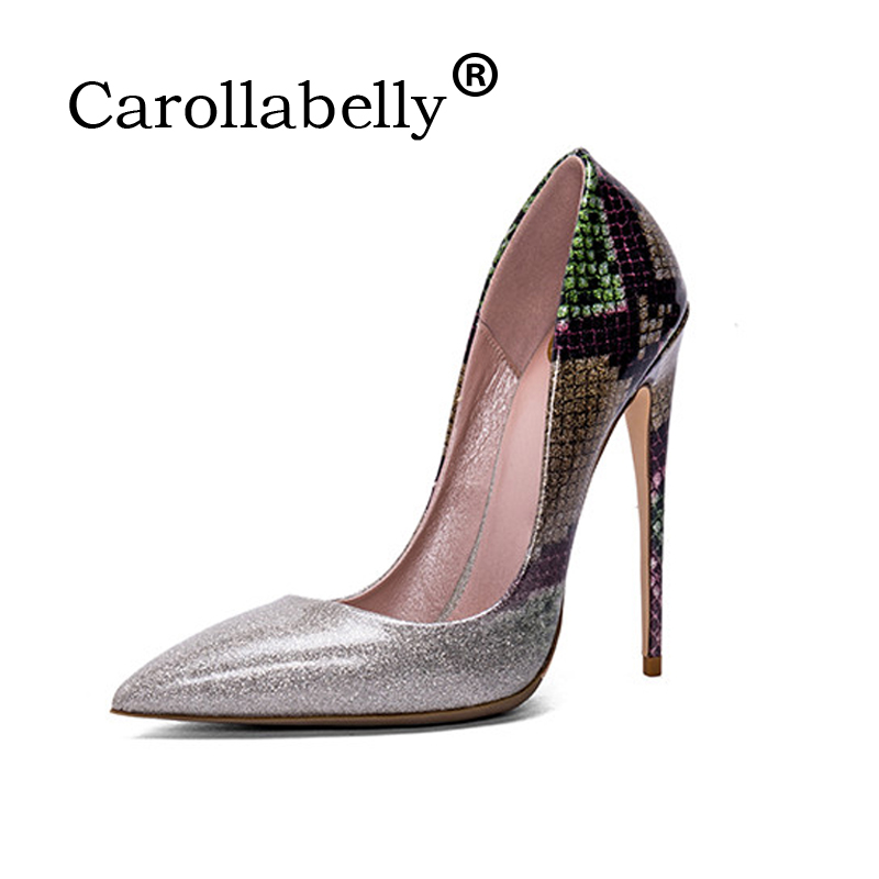 Carollabelly Shoes Woman High Heels Wedding Shoes  Genuine Leather  Women Pumps Pointed Toe Sexy High Heels Shoes Stilettos