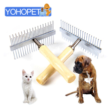 Double sides wooden Handle stainless steal Needle large Dog Comb Hairbrush big Dog Grooming Hair Tool hair Care For Dogs 12*10cm