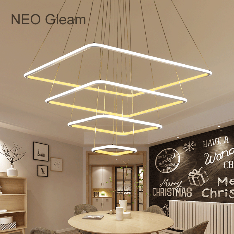 NEO Gleam Minimalism Modern Led Hanging chandelier For Dining Room Kitchen Room White Color Aluminum pendant chandelier Fixtures