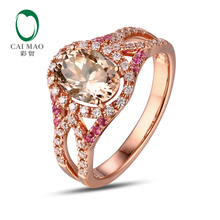 CaiMao 14KT/585 Rose Gold 0.34ct Round Cut Diamond 0.15ct Pink Sapphire 1.83ct Natural Morganite Engagement Ring Jewelry