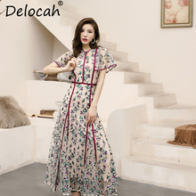 цены Delocah Women Spring Maxi Dress Runway Fashion Flare Sleeve Mesh Overlay Floral Embroidery Elegant Vintage Party Long Dresses