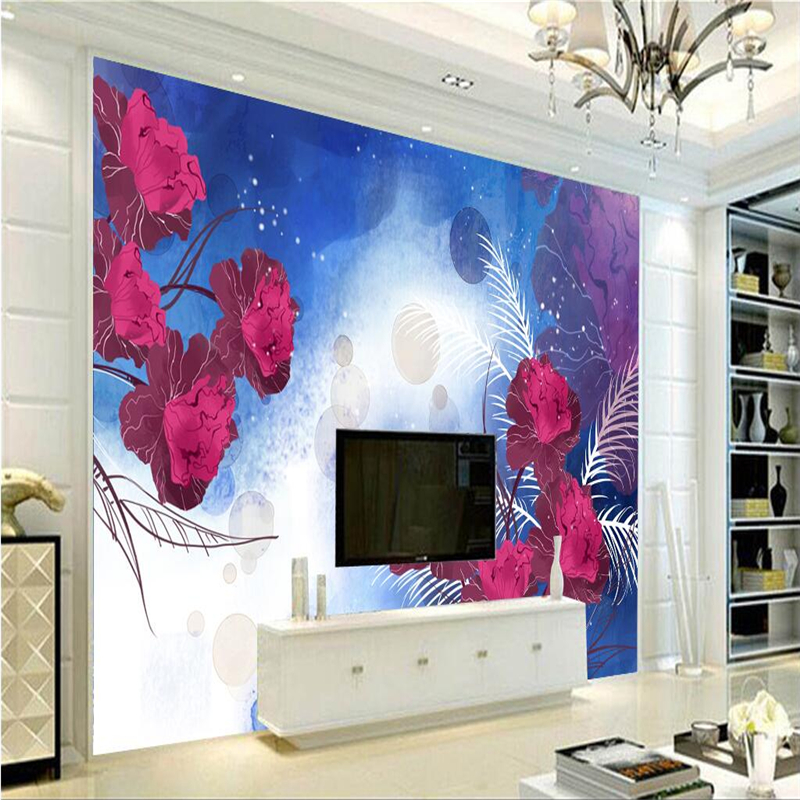 Wallpaper Purple Flowers 3d Minimalist Dream Wallpapers for Walls Embossed Non-Woven for Bedroom TV Background 3d Wall Mural modern embossed 3d wallpapers rolls luxury striped wallpapers non woven desktop wall papers home decor bedroom walls coverings