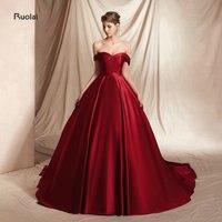 Burgundy Satin Evening Dress 2018 Ball Gown Off the Shoulder Evening Gown Formal Dress for Women Party Dress robe de soiree