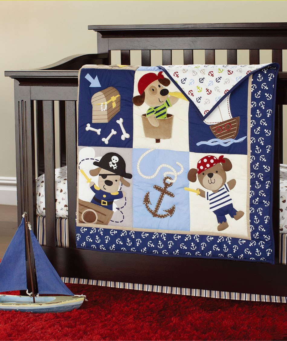100 Cotton Crib Bedding Set 7 Pieces Embroidery Pirates Of The Caribbean Baby Bedding Set Quilt