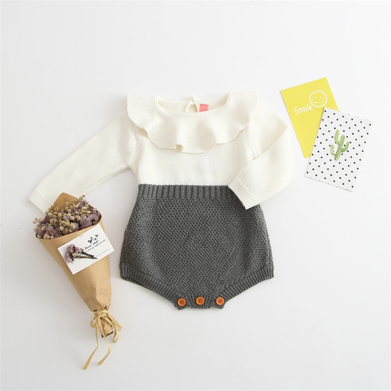 купить Infant Baby Girls Playsuits Clothes Baby Rompers Baby Girls Winter Summer Fall Long Sleeve PeterPan Collar Knitting Wool Romper по цене 861.84 рублей