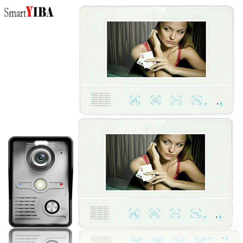 SmartYIBA 7 Inch Video Door Intercom Kits Families Door Phone Doorbell Waterproof Outdoor IR Camera Night Vision Color Screen