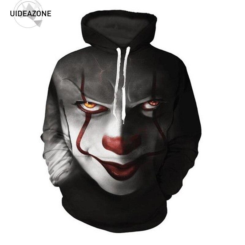 Pennywise 3D Clown Felpa Con Cappuccio Uomini Donne Pullover Hoody Tops Sudadera Hombre Casual Marchio di Abbigliamento Sportivo Tuta Formato EUR