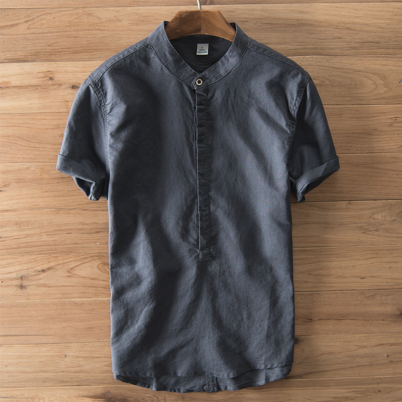 Summer Casual Shirts Men Short Sleeve Button Cotton Linen Pullovers Solid Shirts Leisure Breathable Vintage Tops M-3XL