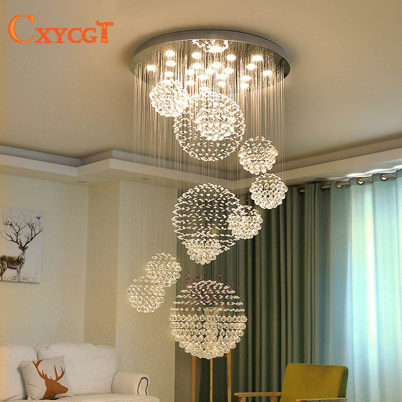 Modern Led Luxury Crystal Chandeliers Big Hanging Suspension Ceiling Lamp  for Hotel Hall Villa Flower Ball d32f16da1c3b