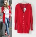 New Europeia Moda Mid-longo Sólidos Shell Botão camisola Das Mulheres Cardigans plus size. q0979
