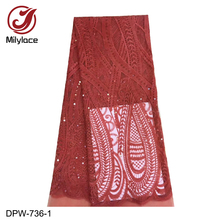 French Lace Material High Quality Net African Lace Fabrics with Sequins for Nigerian Wedding Tulle Lace Fabric DPW-736 african sequins lace fabric 2019 high quality lace material french lace fabric nigerian tulle mesh lace fabrics 24color 1101
