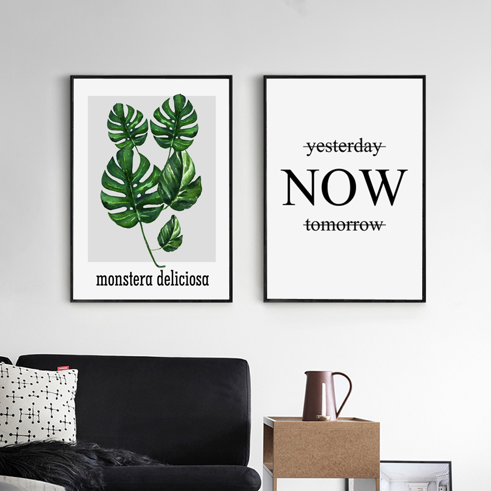 Nordic Style Tropical Plant Leaf And Quote Canvas Print