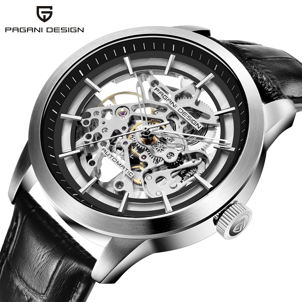 PAGANI DESIGN Brand Hot Sale 2019 Skeleton Hollow Leather Men's Wrist Watches Luxury Mechanical Male Clock New Relogio Masculino