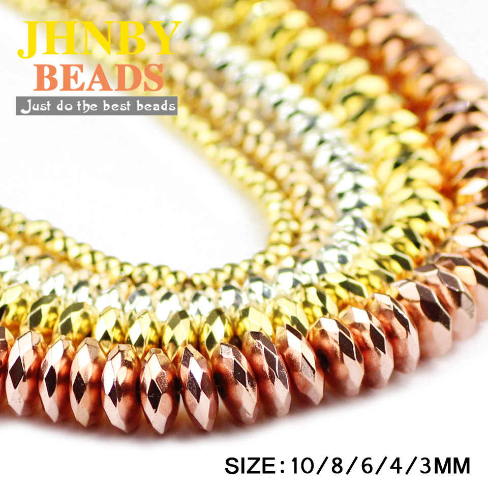 JHNBY Flat Faceted Round Hematite Spacer Loose beads Rose Gold,Silver 3/4/6/8/10mm Natural Stone Jewelry bracelets Making DIY