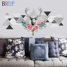 Deer Head Nordic Wall Stickers Art Home Decor Creative Living Room Decoration Decorative Vinyls for Wall Flower Animal Wallpaper(China)