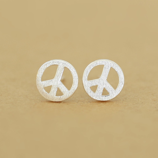 women stud for stainless steel anti earrings peace pin sign war and man