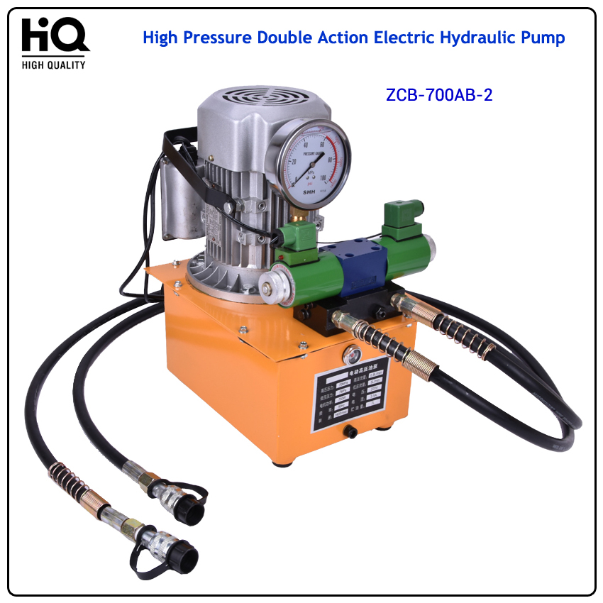 High Pressure Double Action Electric Hydraulic Pump with electron magnetic valve With pedal  1400 (r/min) 0.9(L/min) ZCB-700AB-2 high quality hydraulic valve ebg 03 c 60t