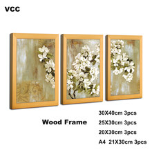 3Pcs/Set Nature Wood Frame Pictures Frames Classic A4 20X30 30X40cm Plexiglass Include Poster Photo Frames For Wall Hanging(China)