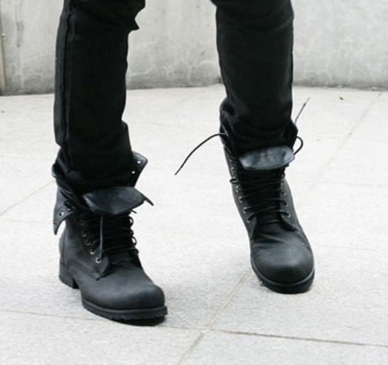 80b0fdd441e New Fashion Winter Retro Combat Boots Boots For Men High Top Lace Up ...