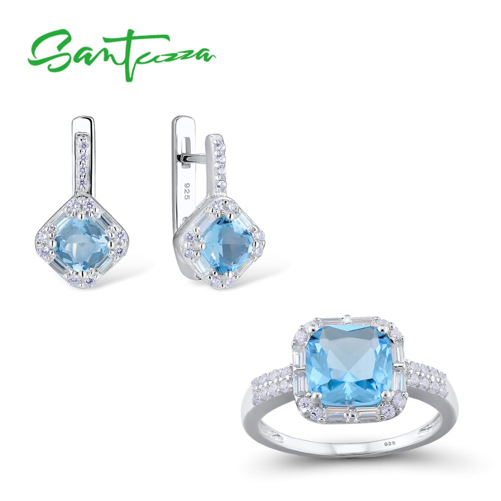 SANTUZZA Jewelry Set for Women Chic Bridal Shiny Cushion Blue Crystal Earrings Ring Set 925 Sterling Silver Fashion Jewelry Set