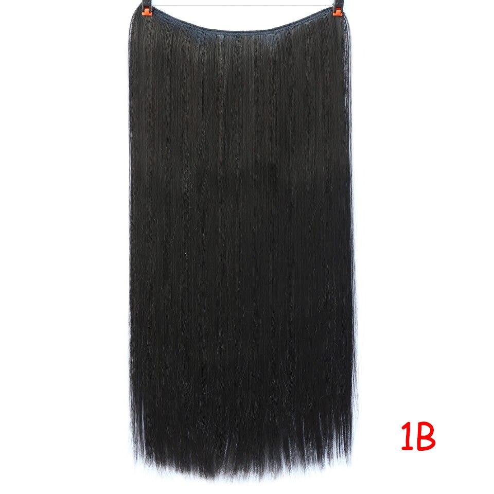 """SHANGKE 2"""" флип-на проволоке в синтетическом скрытом невидимом не клип в головном повязке прямые высокотемпературные волокна для наращивания волос - Цвет: #2"""