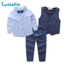 Английский стиль, модный детский блейзер для мальчиков Одежда для джентльменов деловой костюм с жилетом топы, рубашка комплекты со штанами комплект из 3 предметов, D20