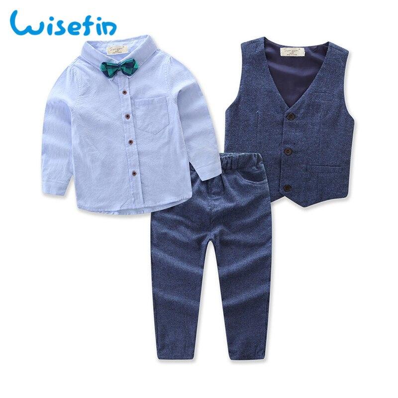 England Style Fashion Kids Boy Blazer Gentleman Clothes Formal Vest Suit Clothing Tops Shirt Pant Sets 3pcs Set Outfits D20