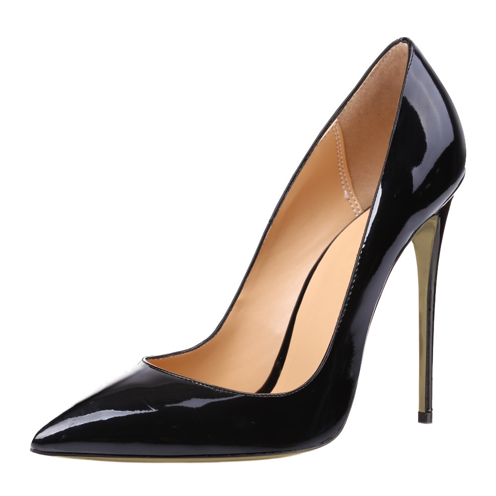 THEMOST 2017 Mode Spitz Lackleder Gradient Plus Größe 34-52 Frauen Pumps High Heels Stiletto Schuhe Weibliche Party Arbeit
