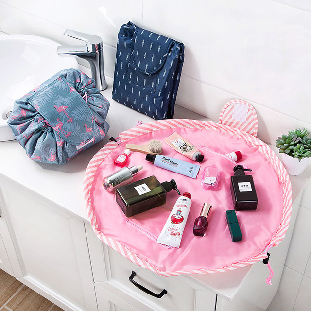Flamingo Cosmetic storage bag drawstring cosmetic bag Women Travel Make Up Organizer Storage Pouch lazy admission bag
