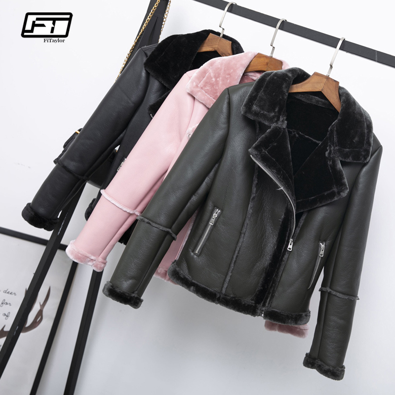 Fitaylor New Winter Women Faux Shearling Sheepskin Coats Thick Warm Pu Faux Lamb Leather Jacket Black