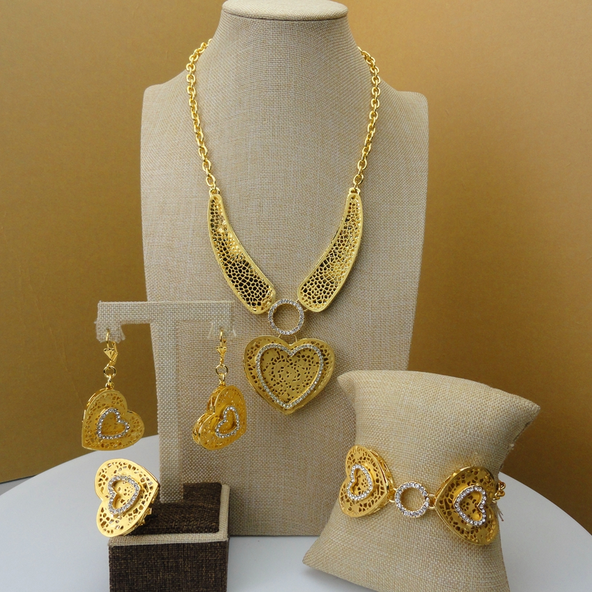 Yuminglai 2019 New Design  Gold Color Luxury Dubai Jewlries Unique Design Ladies African Jewelry Set FHK5561
