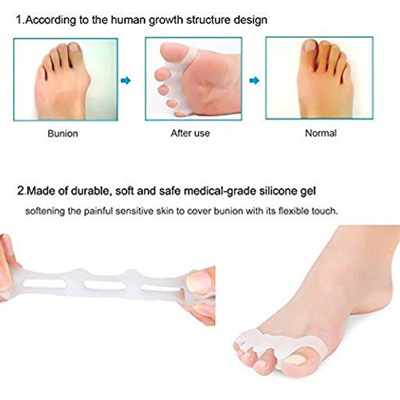 Tcare 1Pair Gel Toe Separator Rubber Toe Stretchers Toe Spacers Used for Cushioning and Relieve Bunion Pain Toe Straightener 2