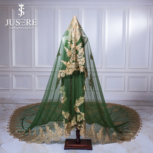 Jusere Green Tulle Golden Lace Appliques Back Train Full Shiny Sequin Beads Long Wedding Marriage 3m Sparkle Bridal Veil 2018
