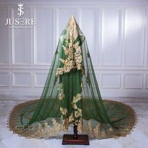 Image 1 - Jusere ירוק טול זהב תחרה אפליקציות חזרה רכבת מלא מבריק נצנצים חרוזים ארוך חתונה נישואי 3 m Sparkle כלה רעלה 2018