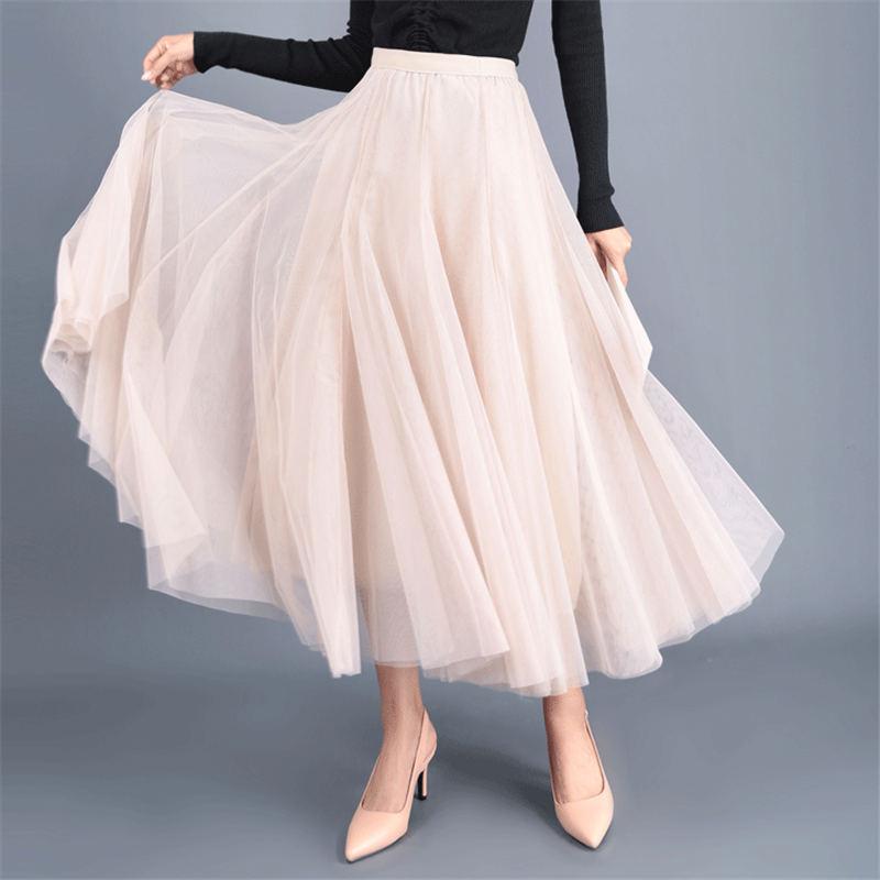 Korean Women Girls Skirt Big Swing Tulle Pleated Long Maxi Tutu Skirt High Waist Net Skirt Summer Holiday Beach Skirt Faldas Skirts Women's Clothing